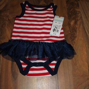 Striped Baby romper with tutu